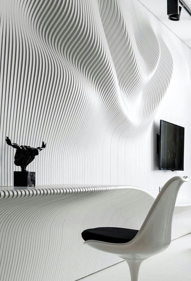 intricate wavy wall on modern black and white bedroom by geometrix design decorative bedroom - Architectural Wall Design