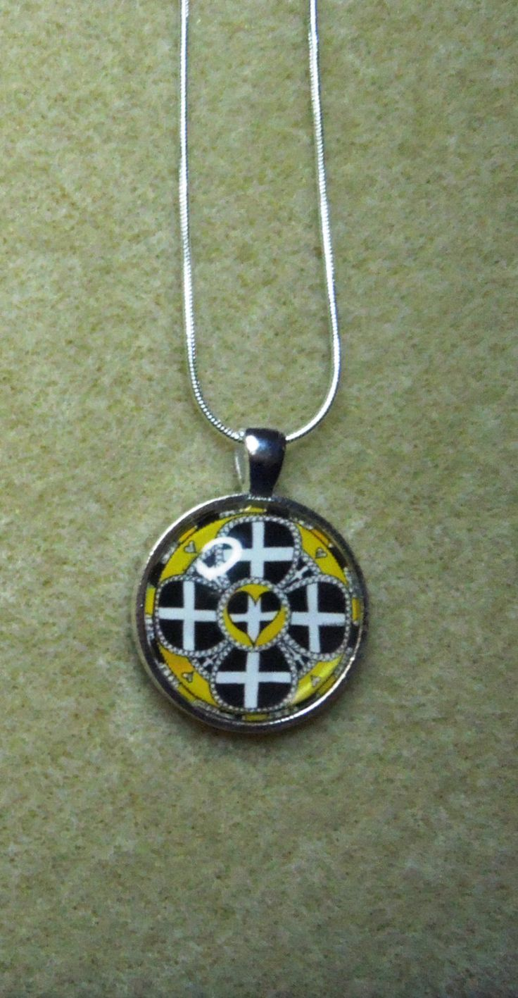 Cornish Flower - pendant & chain, St Piran inspired. From my original hand drawn design. Silver tone and glass by CreativelyWell on Etsy