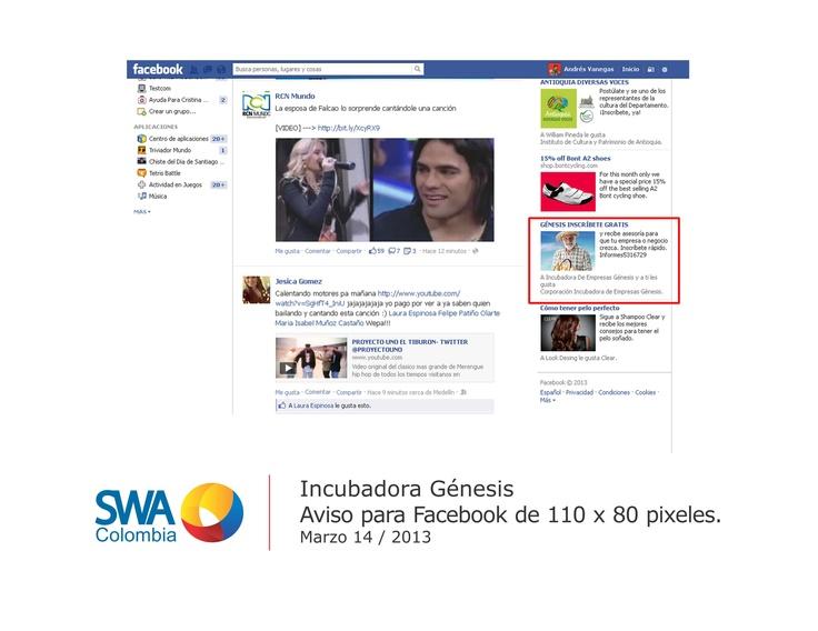Cliente: Incubadora Génesis.  Pieza: Aviso publicitario publicado en facebook.