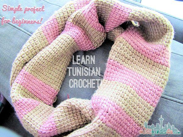Tunisian Crochet Free Infinity Scarf Pattern | Learn this fun cross between knitting  & crochet! MiscFinds4u