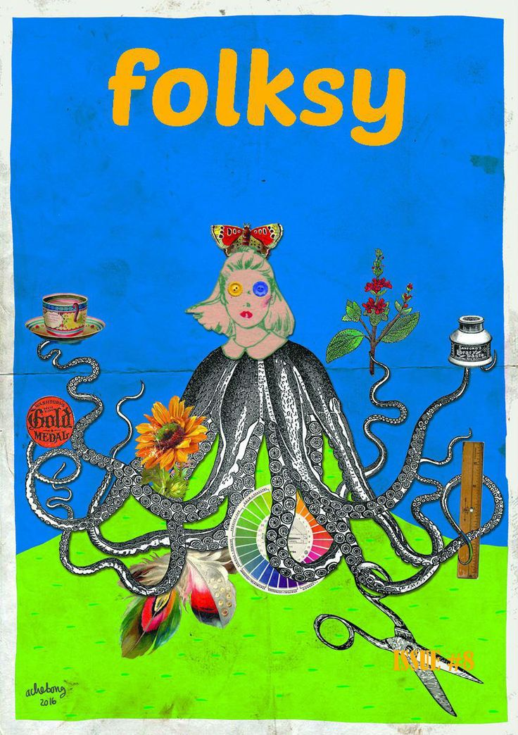 folksy 8th edition, issue: work desk, February-March 2016. Cover collage by Ache Andini