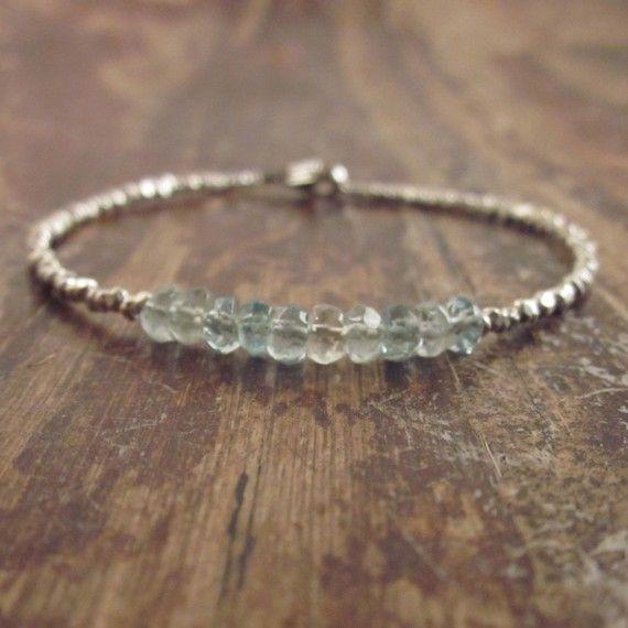 Aquamarine Bracelet Aquamarine Bracelets Aquamarine Jewelry March Birthstone Gemstone Jewelry Womens Gift Hill Tribe Silver Bead Bracelet