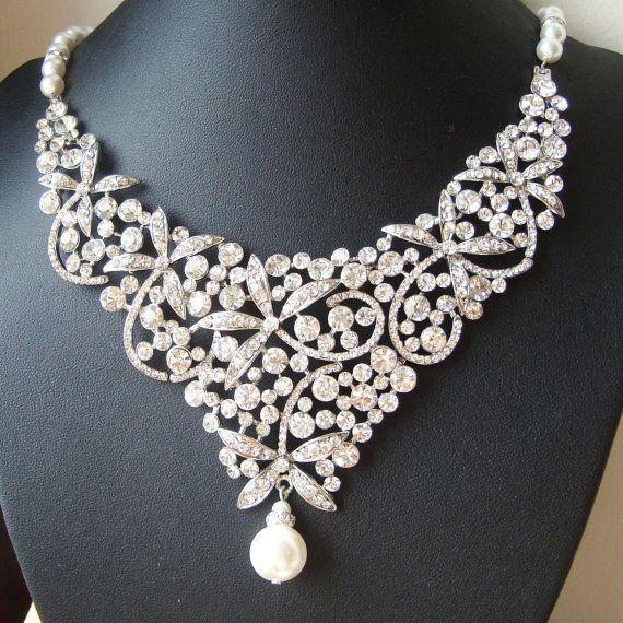 Statement Bridal Necklace, Crystal Bib Wedding Necklace, Flowers or Dragonflies, Rhinestone Wedding Jewelry, Crystal Bridal Jewelry $118