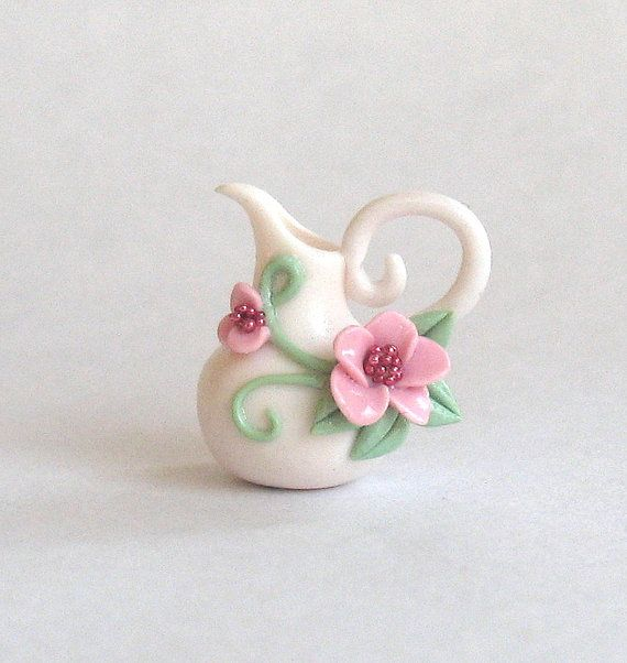 Miniature Romantic Pink Jeweled Blossoms Pitcher OOAK by C. Rohal