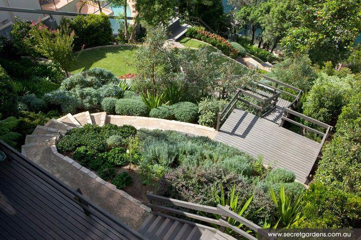 55 best images about home hillside backyards on pinterest for Sloping garden design ideas