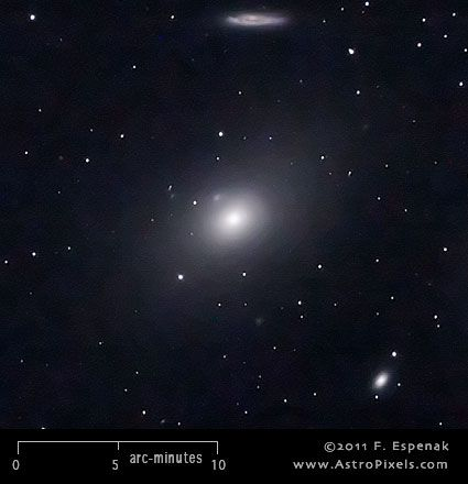 M86 (also designated NGC 4406) is a lenticular galaxy in the constellation Virgo. It has an apparent visual magnitude of 8.9 and its angular diameter is 7.5x5.5 arc-minutes.