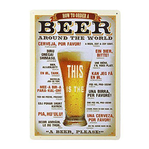 Tinksky Mur en étain Métal Vintage Sign Plaque Affiche pour Cafe Bar Pub Bière: Cette peinture décorative vintage faite à bords repliés…