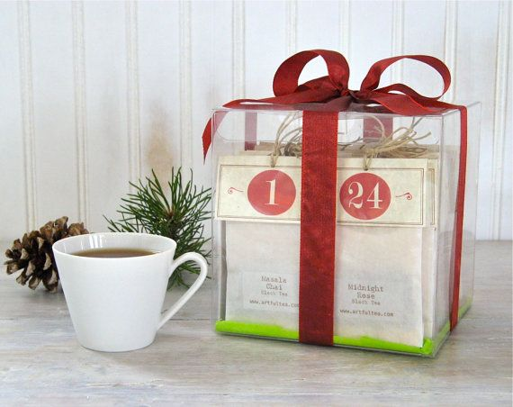 24 Flavors of Tea for Christmas, Advent Calendar, Handmade Numbered Tea Bags, Gift Boxed Tea