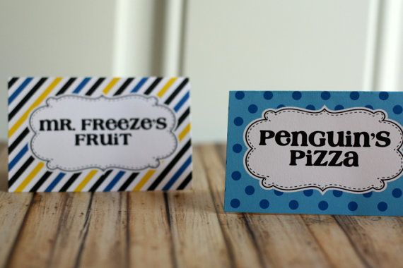 Batman Party Food Tents Party Food Labels by thelovelyapple