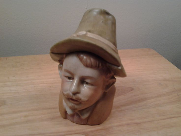 Antique Alphine Young Man with Mustache Ceramic Storage Jar or Humidor by RecycleDean on Etsy https://www.etsy.com/listing/179439755/antique-alphine-young-man-with-mustache