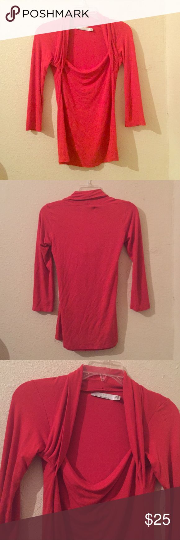 🍄ZARA Red Orange Dress Shirt Zara red orange dress shirt. Shoulder/chest area is open. Soft and stretchy. Dress up or down. Small hole near tag (see pics, price reflects).  Worn and in good condition! Zara Tops Tees - Long Sleeve