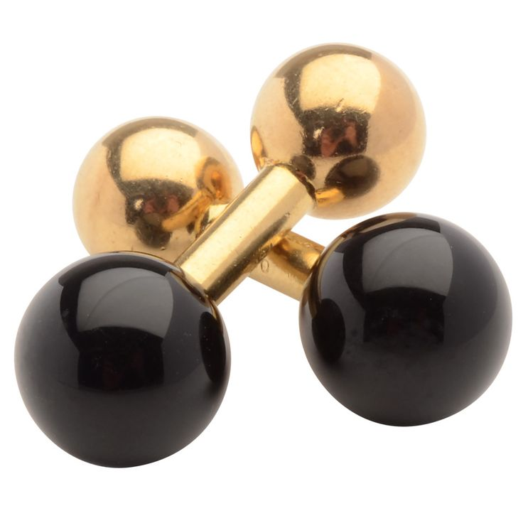 Tiffany & Co. Onyx Gold Barbell Cufflinks | See more rare vintage Cufflinks at http://www.1stdibs.com/jewelry/cufflinks/cufflinks