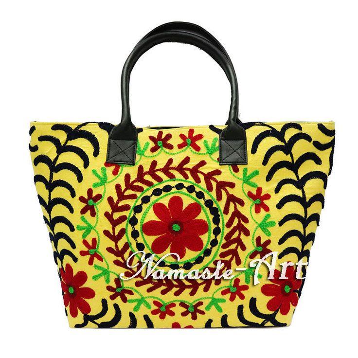 Indian Cotton Embroidery Suzani Art Handbag Tote Woman Shoulder Beach Boho Bag  #Unbranded #TotesShoppers