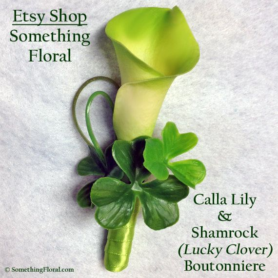 Green Calla Lily and Lucky Shamrock Clover Boutonniere by Something Floral…