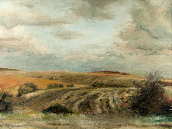 autorská olejomalba krajiny - partie ze Středních Čech  45 x 35 cm