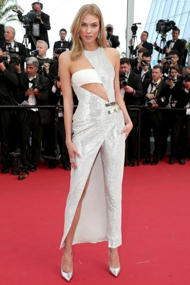 Karlie Kloss - Shows us at the Cannes Red Carpet 2015 that the more a fashion dress is weird, the more you grab the attention. ♥ See more of #Karlie #Kloss at http://www.celebritysizes.com/ ♥