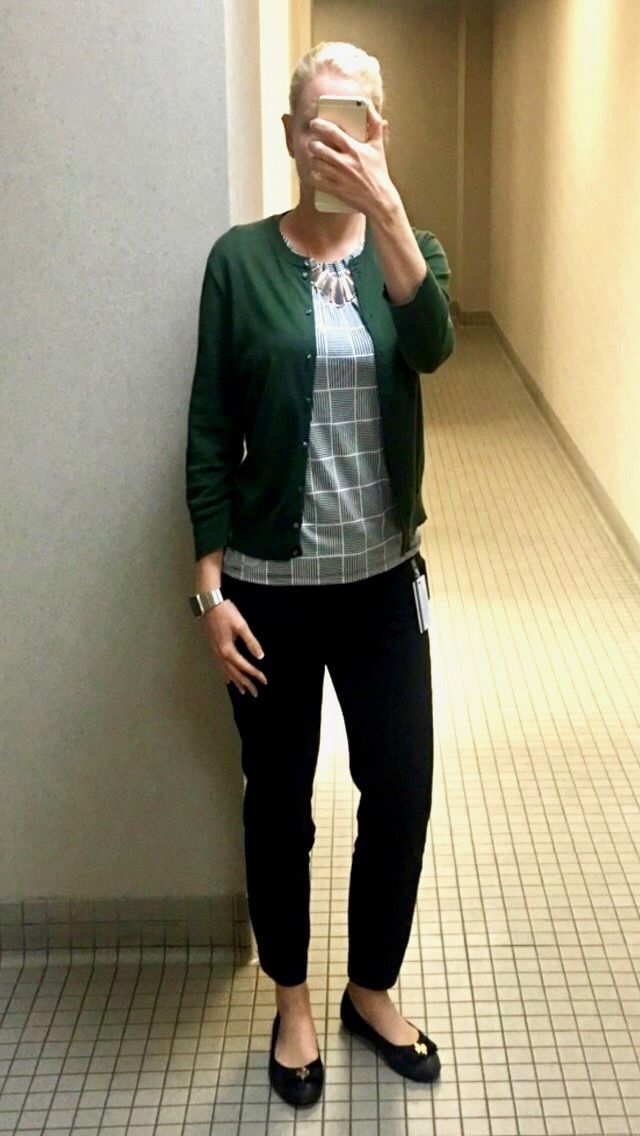 d1afe93a34659 outfit post: black and white check top, green cardigan, black ankle pants,  black ballet flats