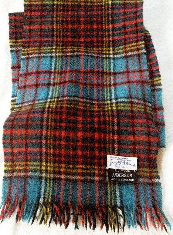 Vintage Wool Plaid Scarf, Anderson Tartan  1960's  Made in Scotland by KohnDesigns, $49.00