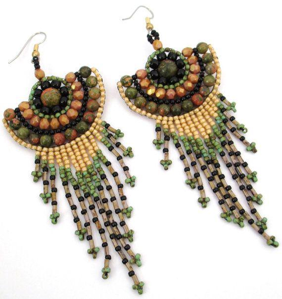 Green Epidote Earrings by BeadfairyStore on Etsy