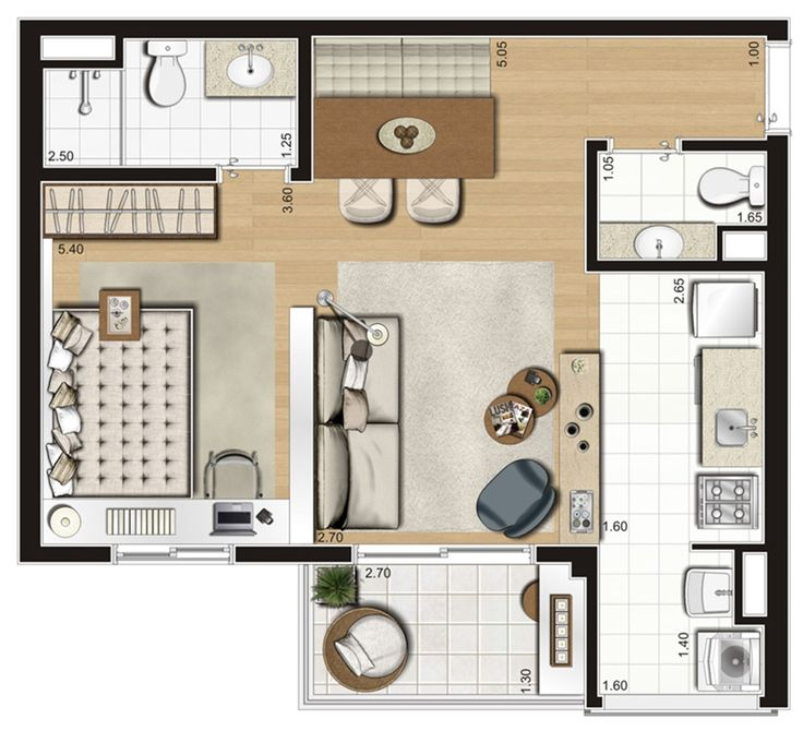 Planta ilustrada opção de 47 m²