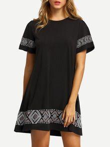 A-Linie Kleid kurzarm mit Stickereien -schwarz