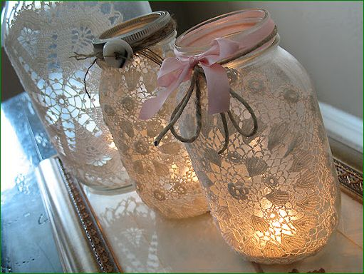 Doily Lit Mason Jar Decor