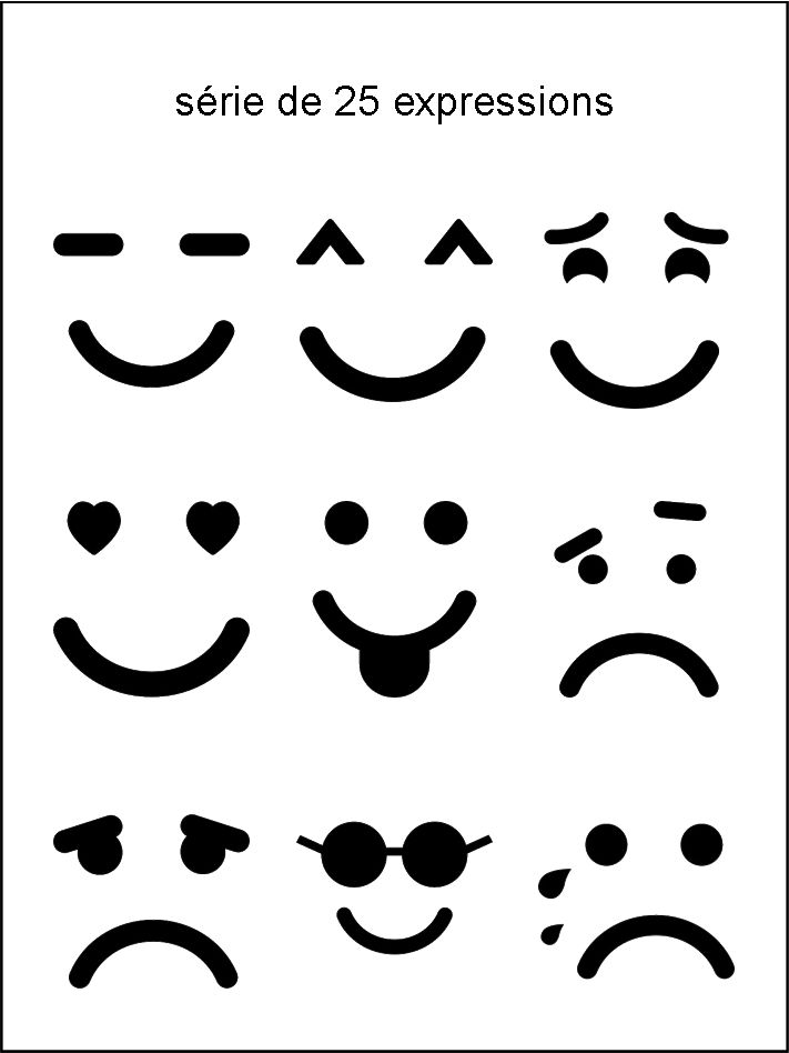 AV - collection d'expressions noir et blanc - smiley émoticône clipart cartoon - téléchargement gratuit et sans inscription