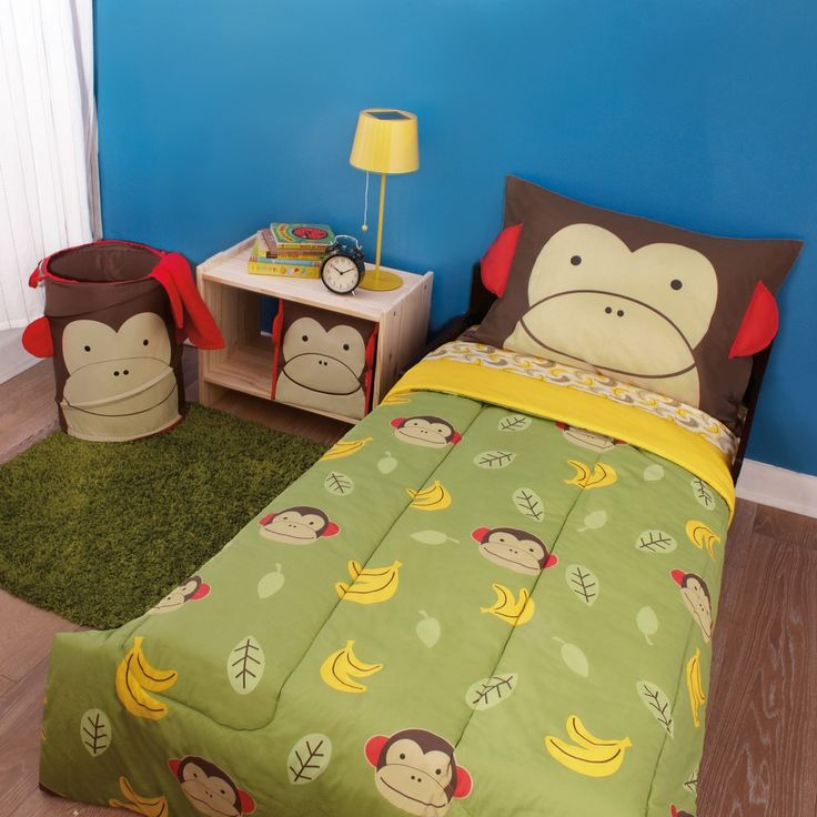bedroom funny toddler bedding with monkey pillow and green blanket with monkeys and bananas accent near green fur mat also monkey waste bin let your kids