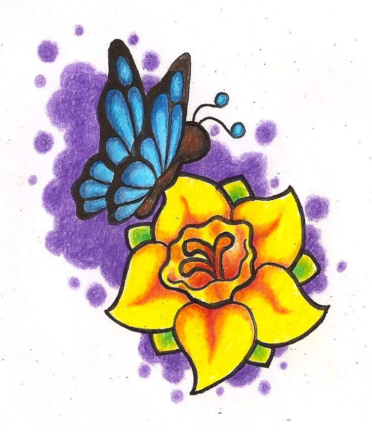 Viewing image Daffodil and butterfly - Ink Trails Tattoo Forum