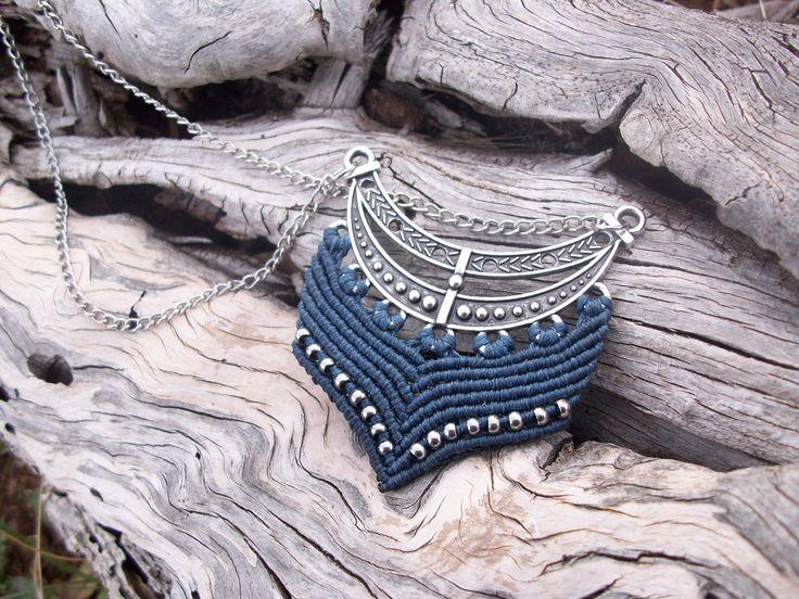 Vintage - Boho macrame pendant, long pendant, antique silver, beaded pendant!
