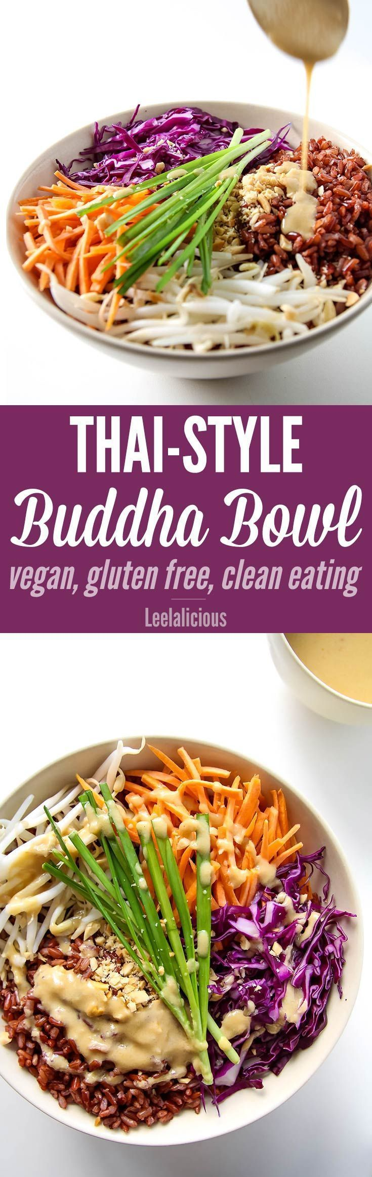 Thai Style Buddha Bowl with Peanut Sauce - this clean eating recipe with red rice and a rainbow of veggies is gluten free and vegan friendly.
