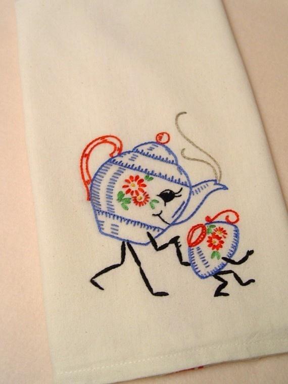 Friendship Tea Hand Embroidered Kitchen Towel With Vintage Design Kitchen Decor Pinterest