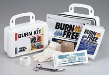 "@ShopAndThinkBig.com - This 11-Piece Burn Kit Includes The Basic Necessities For Burn Care. Products Are Contained In A Sturdy, Reusable Plastic Case With Gasket.Kit Includes:(1) 3"" Conforming Gauze Roll Bandage, Sterile(1) 3""x5 Yd. Cohesive Elastic Bandage Wrap, Latex Free(1) 1""x5 Yd. First Aid Tape Roll(2) M-489: 4""x4"" Water-Jel? Burn Dressings(1) M-490: 4""x16"" Water-Jel? Burn Dressing(4) Exam Quality Vinyl Gloves, 2 Pairs(1) 4-1/2"" Scissors, Nickel PlatedKit Dimen…"