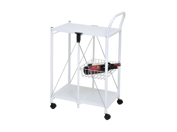 PETRA Hopfällbart Rullbord Vit/Krom i gruppen Inomhus / Bord / Sidobord hos Furniturebox (100-18-93372)