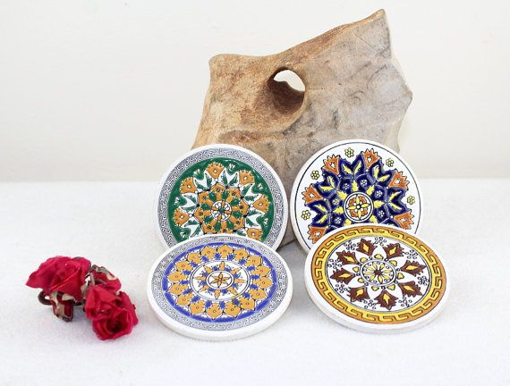 Vintage Coaster Ceramic Handpainted Mid Century 60s Greek handmade table tiles mandala table decoration