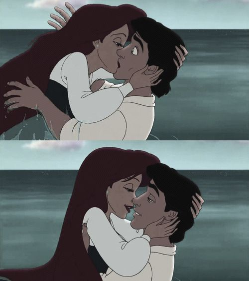 Arielle and Prince Eric - a classic Disney romance (of a girl who can't talk/naked and a prince who's love struck).  This is also one of the best kisses to give. Just saying.