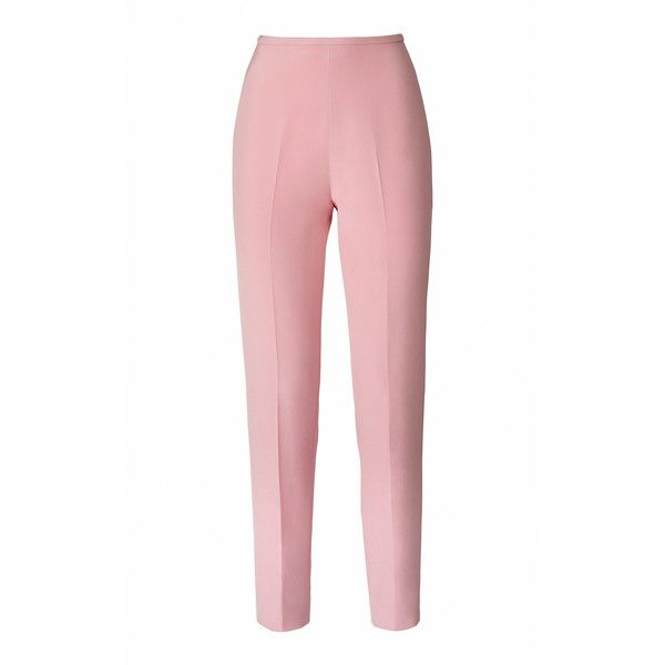 Esme Vie Anise Trouser (4.070 RON) ❤ liked on Polyvore featuring pants, bottoms, pink, highwaist pants, high rise pants, pink pants, high waisted trousers and tapered leg pants