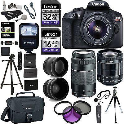 Canon EOS Rebel T6 Digital SLR Camera Kit 18-55 75-300 4 Lens Value Bundle USA #Cameras #Photo #Digital #1159C003