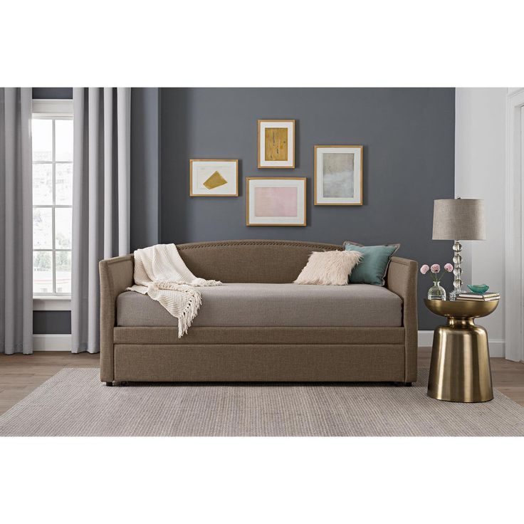 Twin Daybed with Trundle Upholstered Sofa Bed Loveseat Tan Living Room Furniture #BetterHomesandGardens #Classic