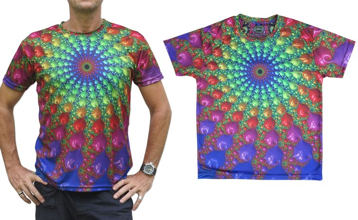 """Sublime S/S T : Spectral Fractal Fully printed short sleeve T shirt. This shirt is an """"All Over"""" printed T shirt that will really grab people's attention. The design is printed using sublimation printing on a high quality polyester / Dri-Fit blended shirt. This allows for extremely vibrant colors that will never fade away no matter how many times it gets washed, & results in an extremely soft """"feel"""" to the shirt, providing ultimate comfort. Artwork by Space Tribe"""