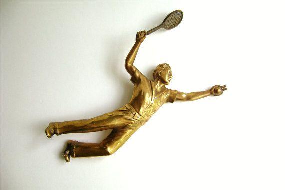 Tennis Angel Tennis Man Gold Tone Tennis Trophy by OldAuntsAttic, $10.00