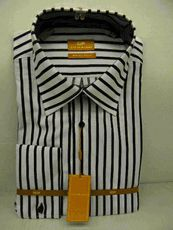 Steven Land  Mens White Black Stripe 100% Cotton Dress Shirt DS426 Size 17 - click to enlarge