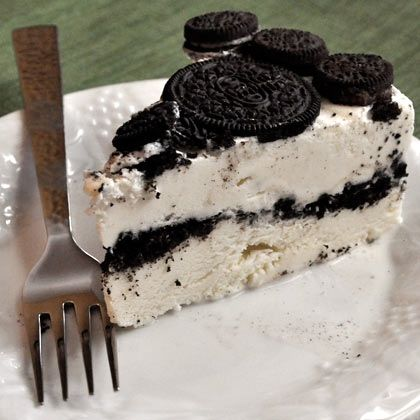 Extraordinary cake starts with vanilla ice cream sandwiches and chopped Oreo cookies and just continues to get better!