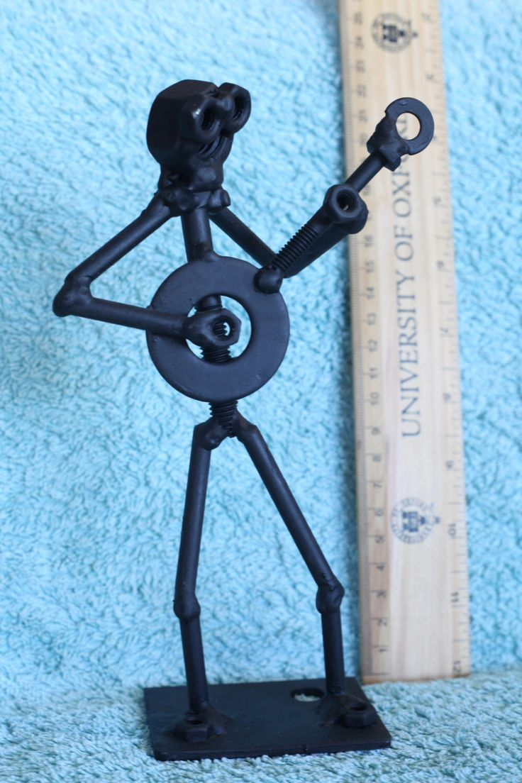 Banjo Player Figurine. Nuts and Bolts Metal Artwork by ShedShenanigans on Etsy https://www.etsy.com/au/listing/452295766/banjo-player-figurine-nuts-and-bolts