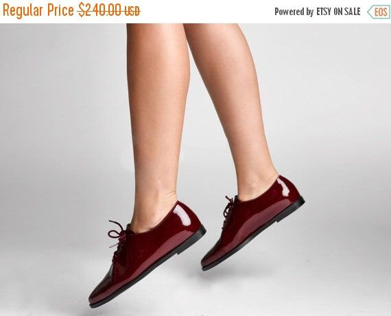 ON SALE Burgundy flat oxford for women - maroon flats lace shoes - women maroon flats - free shipping  by NormanAndBella on Etsy https://www.etsy.com/listing/246503298/on-sale-burgundy-flat-oxford-for-women