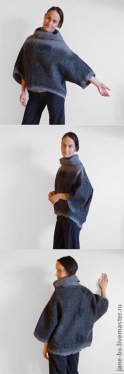 Купить Валяная блуза-туника Oversized - темно-серый, туника, свитер, oversized, оверсайз, черная