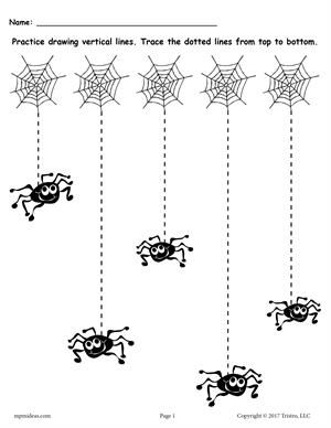 Silly Spiders Line Tracing Worksheet with Straight Lines
