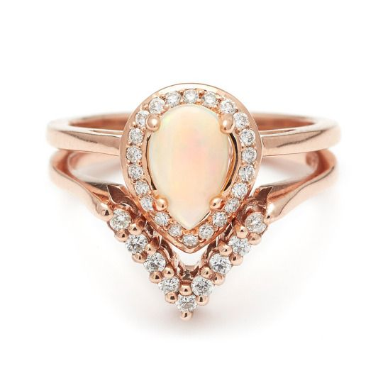 fashion jewelry for cheap Venus worthy manifestation of the Pear Rosette with Australian Opal shown layered and lovely with the Diamond Chevron band
