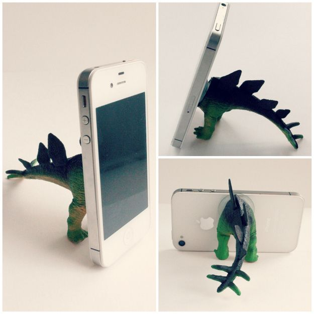 Dino butts can help your phone stand up.   31 Cheap And Brilliant Dollar Store Hacks