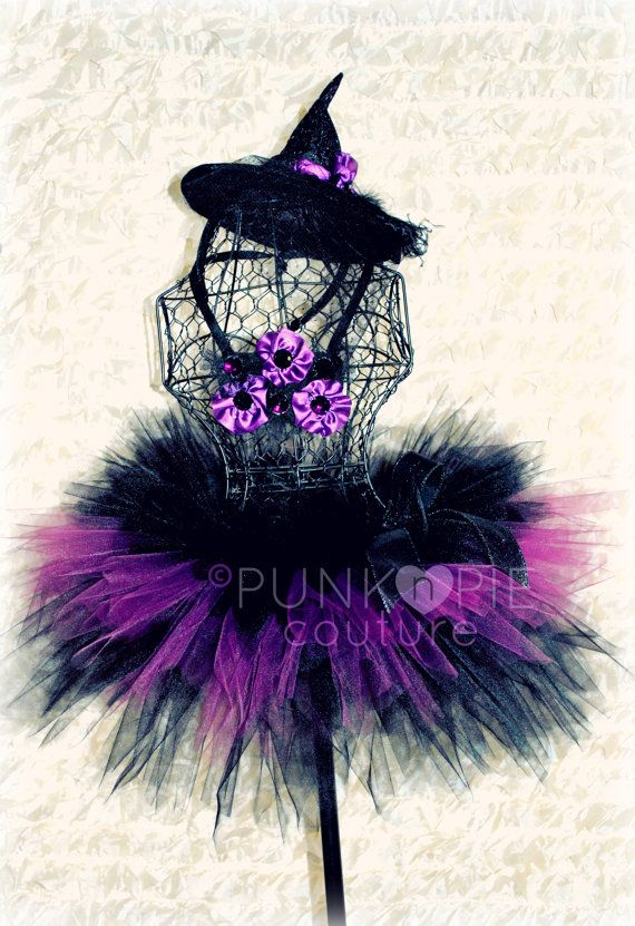 Witch Tutu Costume Amethyst The Couture Witch Halloween 4 pc. set  Purple and Black